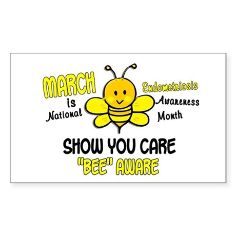 Endo Awareness Month Bee 1 Sticker (Rectangle)