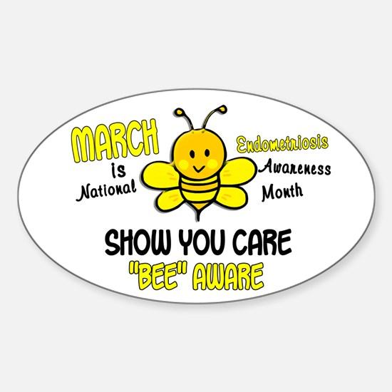 Endo Awareness Month Bee 1 Sticker (Oval)