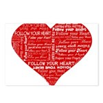 Follow Your Heart Red Typogra Postcards (Package o