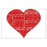 Follow Your Heart Red Typogra Large Poster