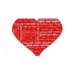 Follow Your Heart Red Typogra 38.5 x 24.5 Wall Pee