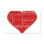 Follow Your Heart Red Typogra 22x14 Wall Peel