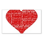 Follow Your Heart Red Typogra Sticker (Rectangle)