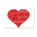 Follow Your Heart Red Typogra Car Magnet 20 x 12