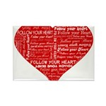 Follow Your Heart Red Typogra Rectangle Magnet (10