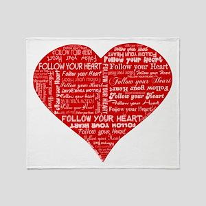 Follow Your Heart Red Typogra Throw Blanket