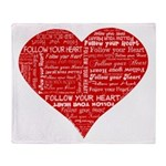 Follow Your Heart Red Typogra Throw Blanket