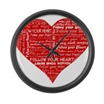 Follow Your Heart Red Typogra Large Wall Clock