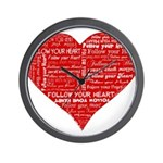 Follow Your Heart Red Typogra Wall Clock