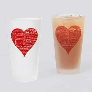 Follow Your Heart Red Typogra Drinking Glass