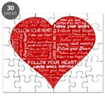Follow Your Heart Red Typogra Puzzle