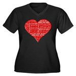 Follow Your Heart Red Typogra Women's Plus Size V-
