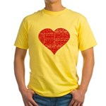 Follow Your Heart Red Typogra Yellow T-Shirt