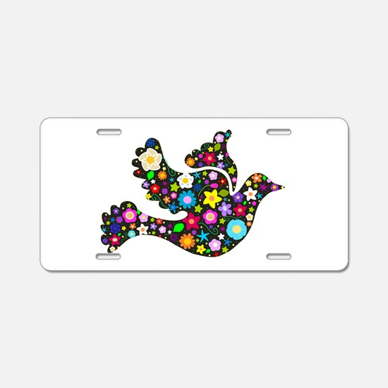 Flowery Dove - Black Aluminum License Plate