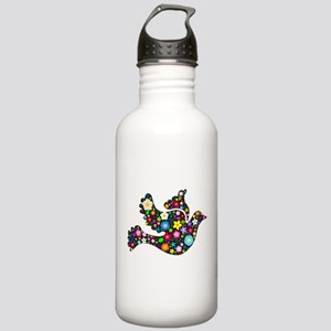 Flowery Dove - Black Stainless Water Bottle 1.0L