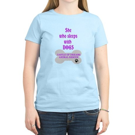 She Sleeps with Dogs Women's Light T-Shirt