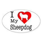 I Love My Bearded Collie Sticker (Oval)