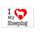 I Love My Bearded Collie Sticker (Rectangle 50 pk)
