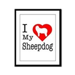 I Love My Bearded Collie Framed Panel Print
