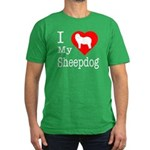 I Love My Bearded Collie Men's Fitted T-Shirt (dar