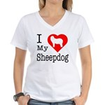 I Love My Bearded Collie Women's V-Neck T-Shirt
