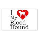 I Love My Bloodhound Sticker (Rectangle)