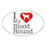 I Love My Bloodhound Sticker (Oval)