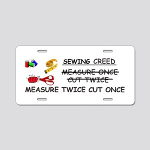 SEWING CREED Aluminum License Plate