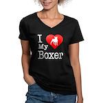 I Love My Boxer Women's V-Neck Dark T-Shirt
