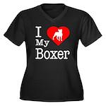I Love My Boxer Women's Plus Size V-Neck Dark T-Sh