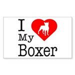 I Love My Boxer Sticker (Rectangle)