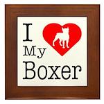 I Love My Boxer Framed Tile