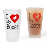 I Love My Boxer Drinking Glass