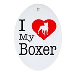 I Love My Boxer Ornament (Oval)