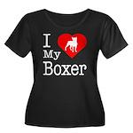 I Love My Boxer Women's Plus Size Scoop Neck Dark