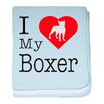 I Love My Boxer baby blanket