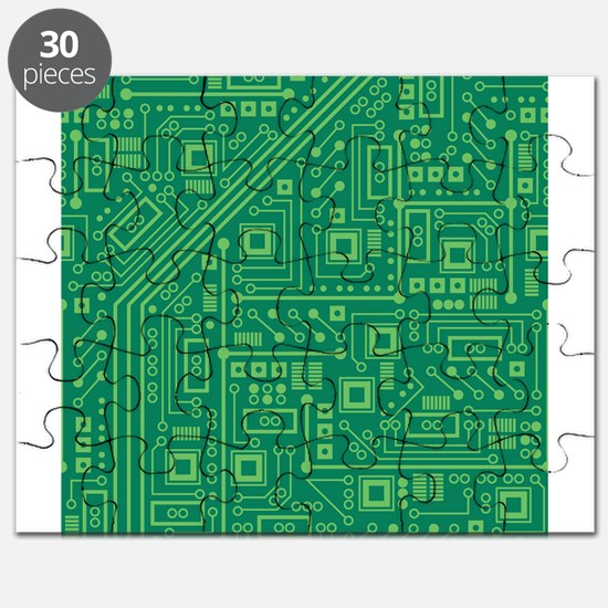 Green Circuit Board Puzzle