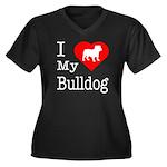 I Love My Bulldog Women's Plus Size V-Neck Dark T-