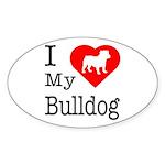 I Love My Bulldog Sticker (Oval)