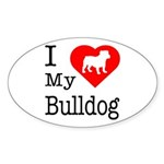 I Love My Bulldog Sticker (Oval 10 pk)