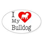 I Love My Bulldog Sticker (Oval 50 pk)