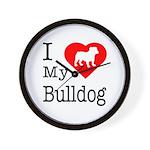 I Love My Bulldog Wall Clock