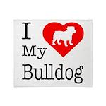 I Love My Bulldog Throw Blanket