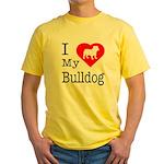 I Love My Bulldog Yellow T-Shirt