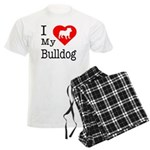 I Love My Bulldog Men's Light Pajamas