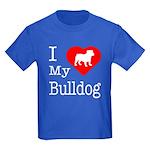 I Love My Bulldog Kids Dark T-Shirt
