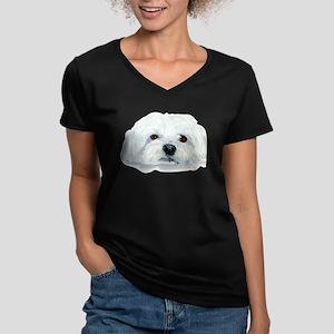Bogart the Maltese Women's V-Neck Dark T-Shirt