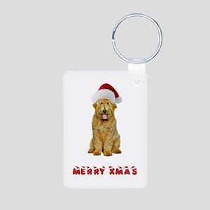 Goldendoodle Christmas Aluminum Photo Keychain