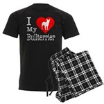 I Love My Bullterrier Men's Dark Pajamas
