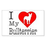 I Love My Bullterrier Sticker (Rectangle)